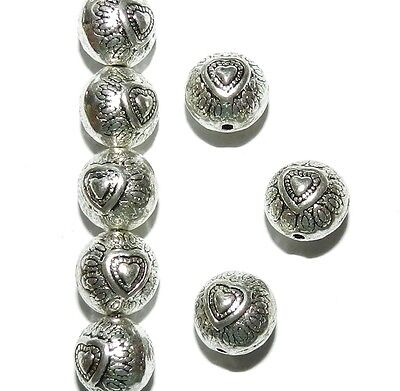 MBX7146 Antiqued Silver 10mm Round Heart Deco Metal Spacer Beads 100pc