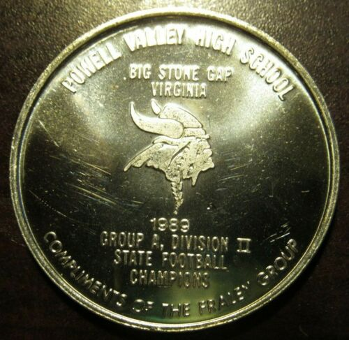 1990 Powell Valley Football Big Stone Gap, VA 1 Troy Oz. 999 Fine Silver Round