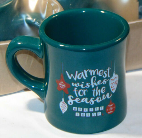 6 NEW WAFFLE HOUSE 2019 GREEN HOLIDAY COFFEE MUGS/CUPS~HEAVY DUTY RESTAURANTWARE