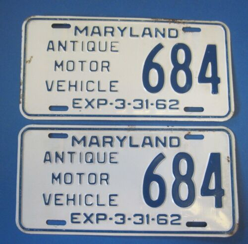 1962 Maryland License Plates Antique Motor Vehicle