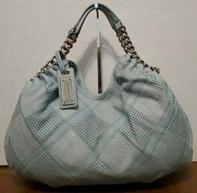 B. MAKOWSKY LG/XL Light Blue Patchwork Leather Hobo/Shoulder Bag/Tote/Purse EUC