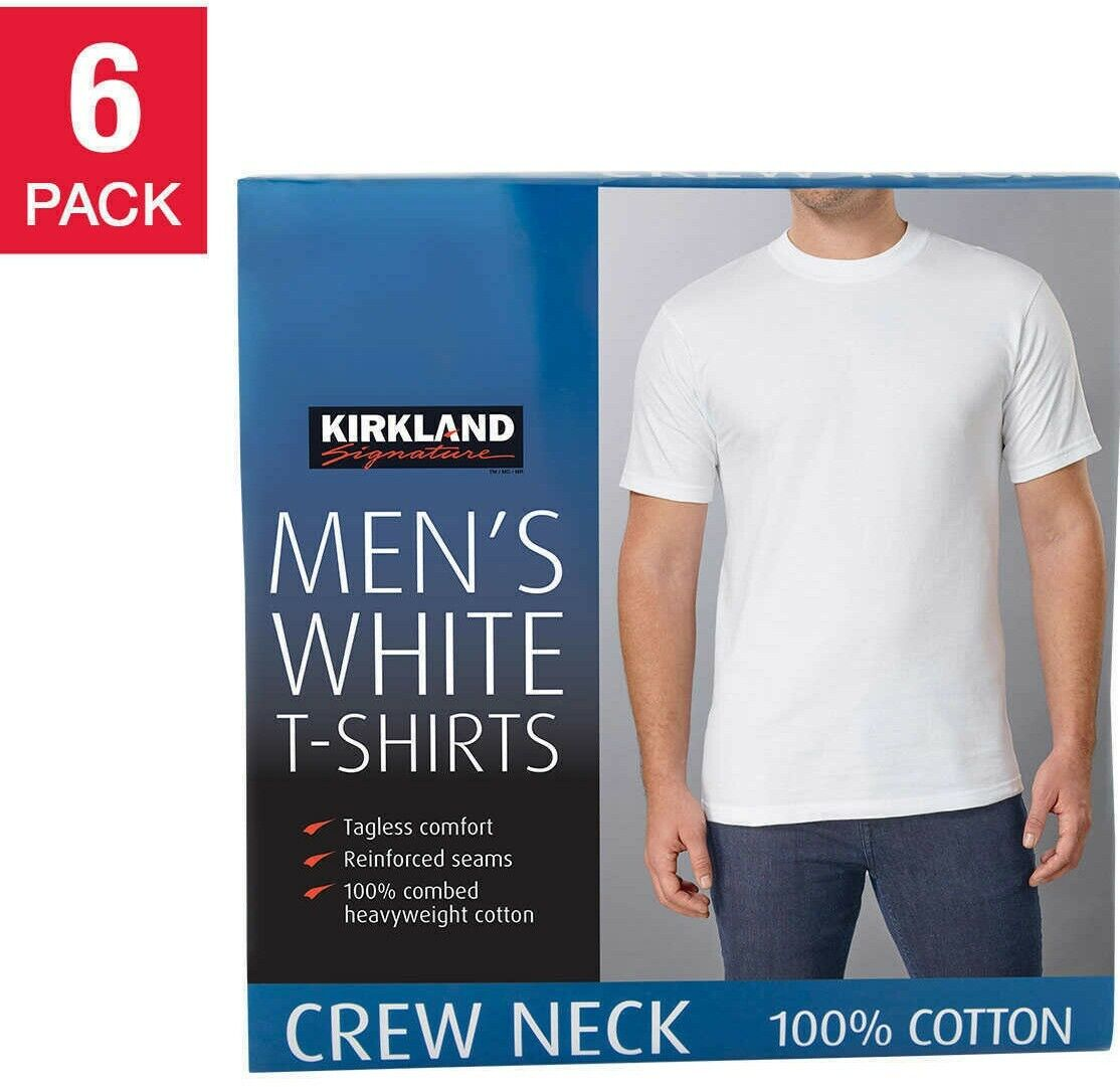 6-pack L Size Crew Neck White Premium T-shirts Combed Cotton Kirkland