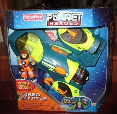 2007 FISHER PRICE--PLANET HEROES--TURBO SHUTTLE (NEW) BONUS FIGURE INCLUDED