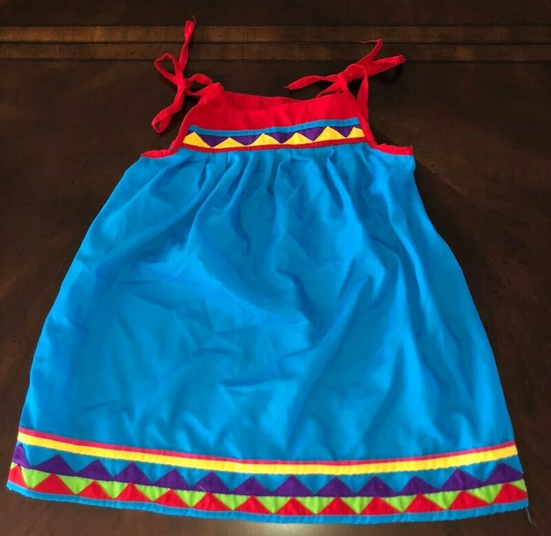 Native American Traditionl Seminole Patchwork Dress Little Girl red blue