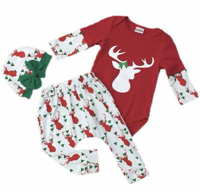 Baby Toddler Girl Christmas Reindeer Boutique Hat Bow Outfit Infant Clothing ](Baby Christmas Reindeer Outfit)