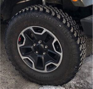 Black Jeep Rubicon Wheels  / Rims & 255/75R17 Mud Terrain Tires