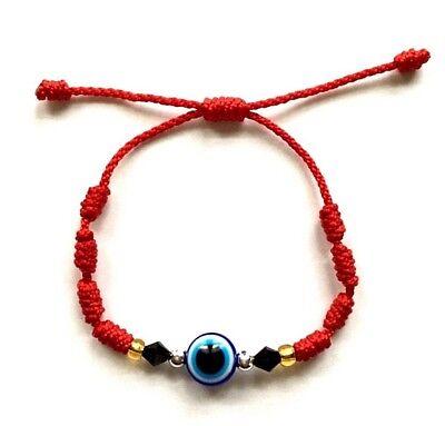 Red string blue evil eye bracelet luck,protection adjustable adults, kids ()