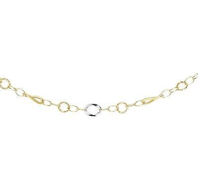 14k Yellow White Gold Diamond Cut Yellow Twisted Open Round Link Chain - Diamond Cut Open Link Chain