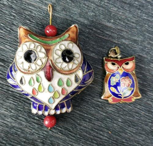 2 Vintage Owl Beads Flowers Cloisonne Chinese Enamel 2 Sided