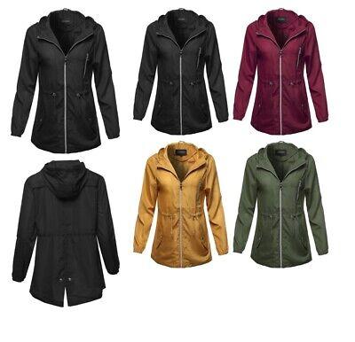 FashionOutfit Women's Solid Lightweight Anorak Hooded Windbreaker Jacket
