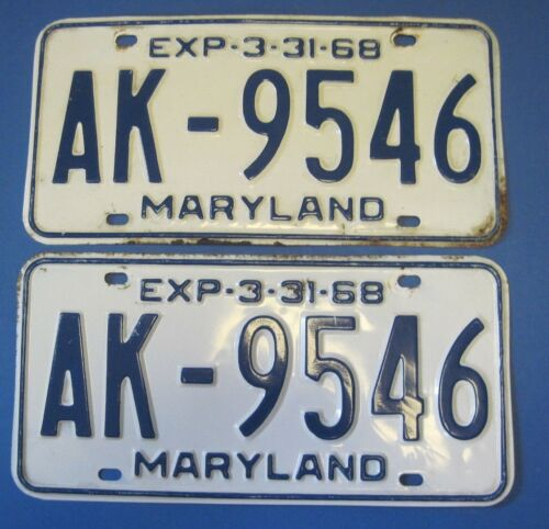 1968 Maryland License Plates Matched Pair