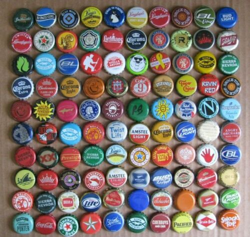 100 MIXED DIFFERENT COLORFUL WORLDWIDE MOSTLY BEER BOTTLE CAPS