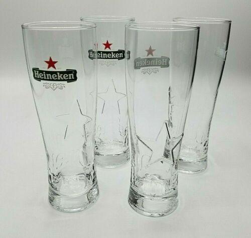 Set of 4 Heineken 16 Oz. Pint Beer Glasses Embossed Star / Heineken Logo NEW