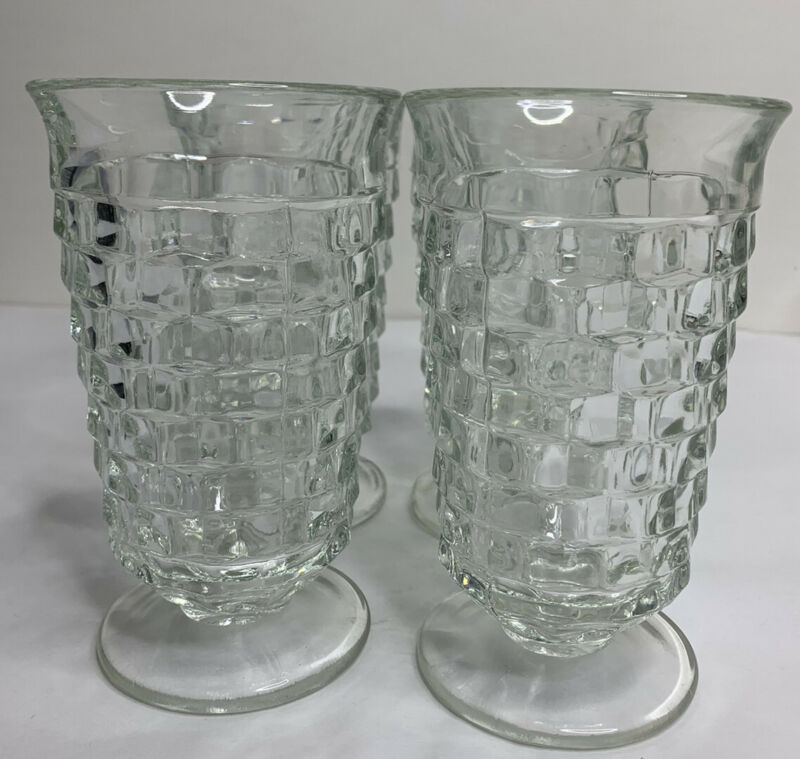 VINTAGE Colony Whitehall Clear Cubed Iced Tea 16 oz. Drinking Glasses 4-PC Set
