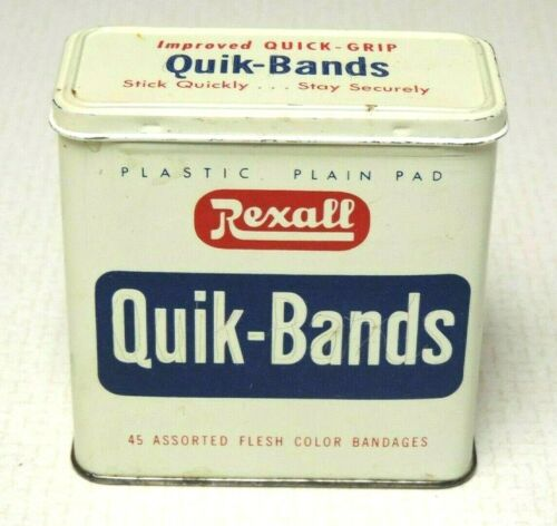 VINTAGE REXALL QUIK BANDS BANDAGES TIN FLIP OPEN HINGED LID