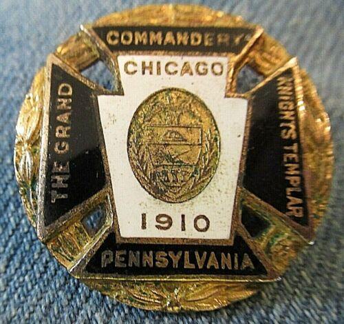 1910 Knights Templar Pennsylvania Grand Commandery In Chicago Enameled Badge