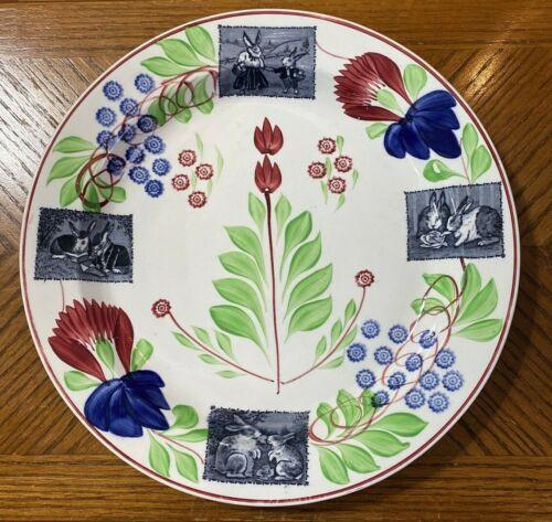 "Antique Rabbitware Stick Spatterware Staffordshire 12 3/4"" Charger Platter"
