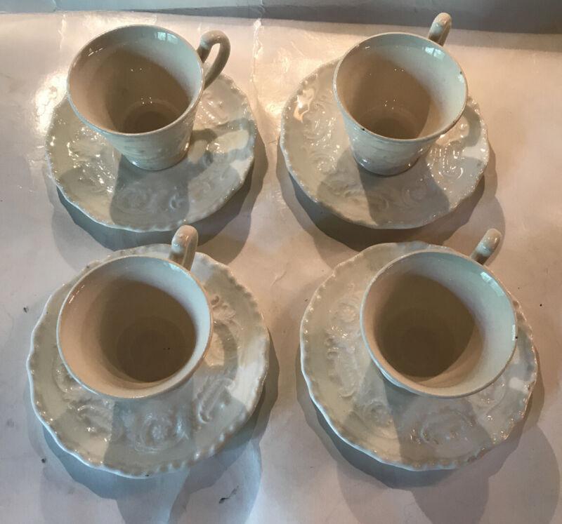 Set Of 4 Steubenville Cups & Saucers Adam Antique Ivory Demitasse