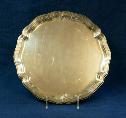 German .800 Round Silver Platter with Tiered Scalloped Edge 425 grams (MOH)
