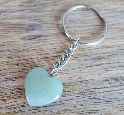 Galactikonsciousness ™ Green Aventurine Keychain Heart Gemstone Stone Natural ()