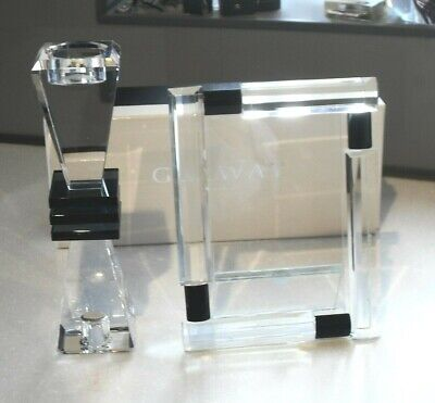 STUNNING GALWAY CRYSTAL GLASS ART DECO 1920s INSPIRED PHOTO FRAME & CANDLE STICK