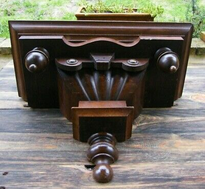 A RECLAIMED CARVED WOODEN GOTHIC CHURCH WALL BRACKET CLOCK SHELF