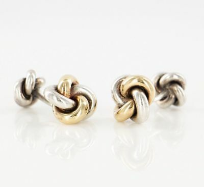 (Solid Sterling Silver 14k 585 Yellow Gold Knot Cufflinks Tuxedo Shirt Jewelry )