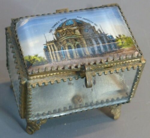 Reverse paint Glass & Brass RING BOX, Temple of Music, Pan American (FREE SHIP)