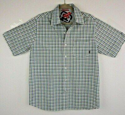 Billabong Never Established Mens Med Plaid Button Front Short Sleeve Blue Green