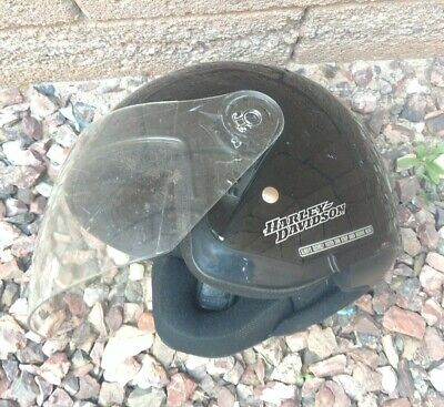 HARLEY DAVIDSON JET II BLACK MOTORCYCLE HELMET w FACE SHIELD SIZE Large L