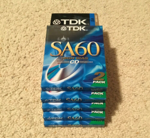 5x Pack Of 2 New Sealed TDK SA 60 Tapes Type II Made In Japan Assembled In USA