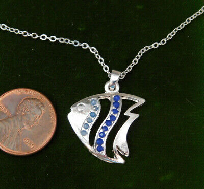 Angel Fish Nautical Blue Rhinestone Pendant Silver Necklace K2 Angel Fish Necklace