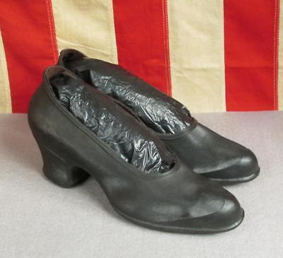 Vintage 1930s Jahre Goodyear Handschuh Marke Hoher Absatz Galoschen Regen Schuhe - Schwarz Viktorianischen Schuhe