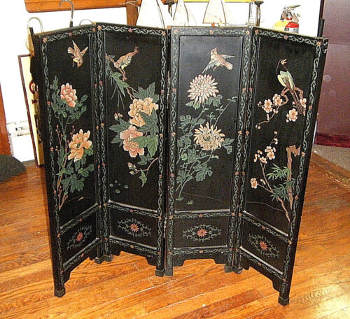 Vtg 1930s Asian Birds Flowers 4 Panel 36in Standing Screen Carved Lacquer Wood