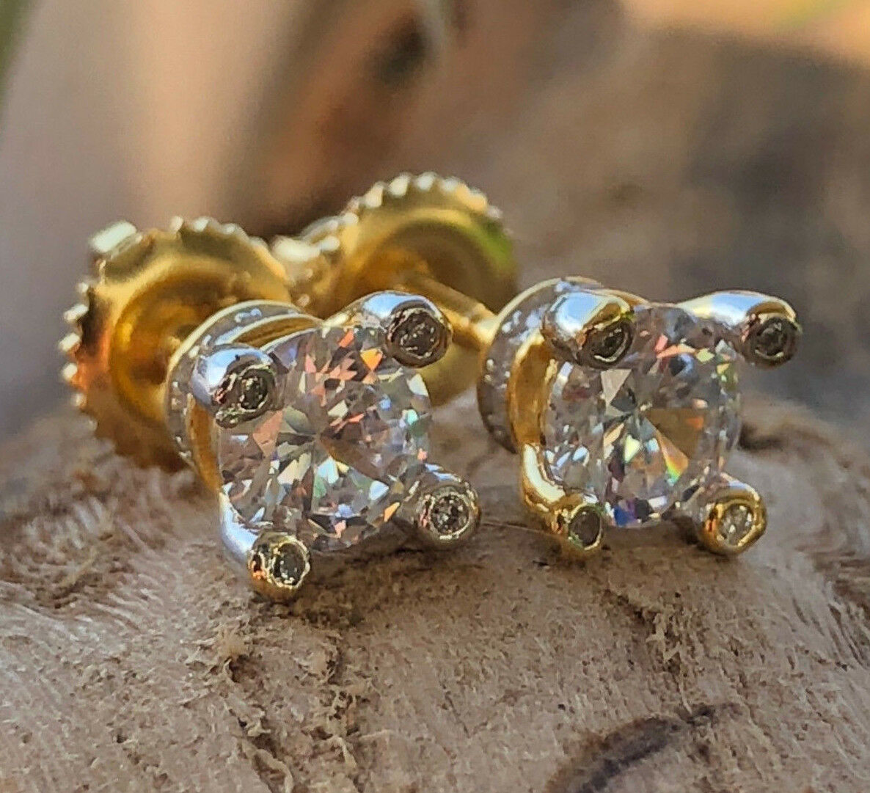Men's Women 925 Sterling Silver 14k Gold Finish 3ct Lab Diamond Earring 7MM