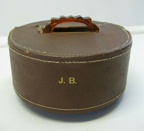 Vintage Wooden Poker Caddy Bakelite Handle Spinning Leather Monogrammed Cover JB