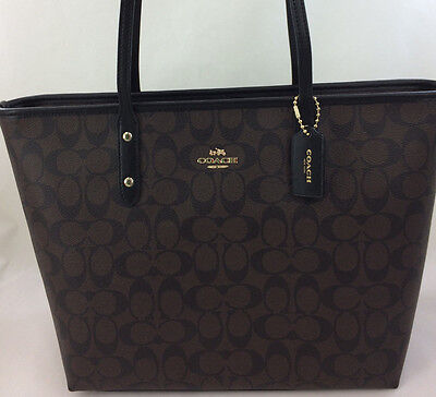 New Coach F58292 Signature Zip Top Large Tote Purse Shoulder Bag Brown Black