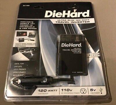DieHard Ultra Slim 120 Watt Travel Inverter 5v USB Power 110v AC Household Power Ac 120 Watt Usb Inverter