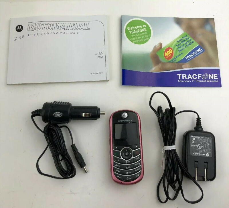 Motorola TFC139BKB Cell Phone Pink Charger Car Charger And Manual
