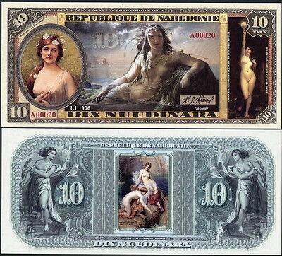 REPUBLIQUE DE NAKEDONIE 10 NUUDINARA TOPLESS LADY, MERMAID FANTASY ART NOTE!