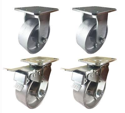 4 Heavy Duty Caster Set 5 6 8 All Steel Wheels Rigid Total Lock Brake