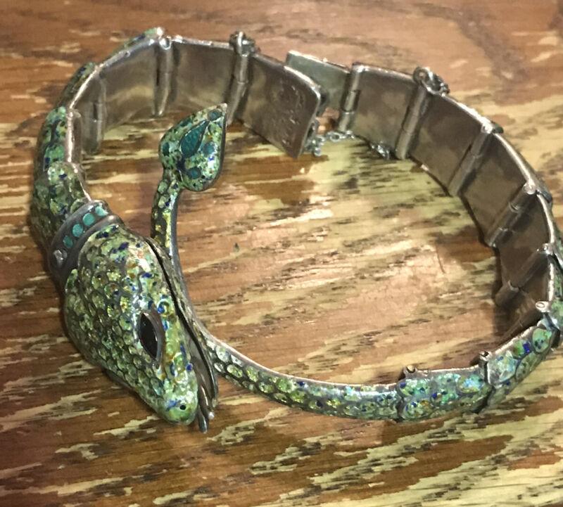 Margot De Taxco Sterling Enamel Snake Bracelet, Mold 5554,Free Shipping!