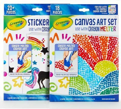 Crayola Crayon Melter Art Set Bundle Refill Add-on Canvas and Sticker Expansion