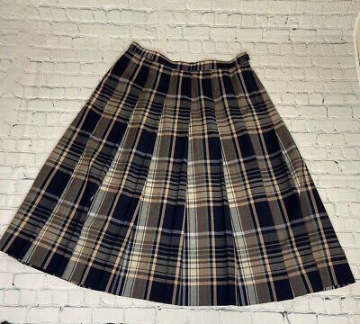 Pendleton Skirt A-Line Plaid Wool Pleated Navy-Blue Green Pink Unlined - 16W Pleats Unlined Skirt
