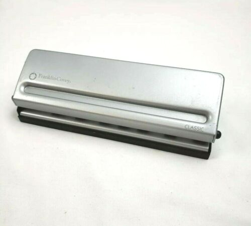 """Franklin Covey Compact 6 Hole Punch Gray Silver 7 1/2"""" Inch Office Home Business"""
