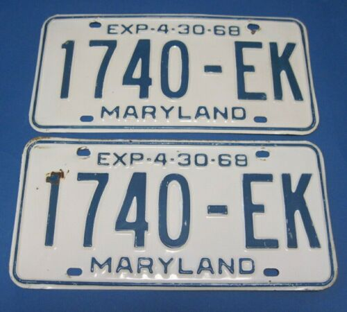 1968 Maryland Truck License Plates Matched Pair