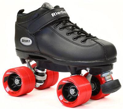 Riedell Dart Quad Roller Derby Speed Skates Black w/ Red Whe