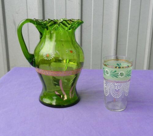Green Jug Pitcher Lemonade Hand Enamelled Panelled Blown Victorian Antique