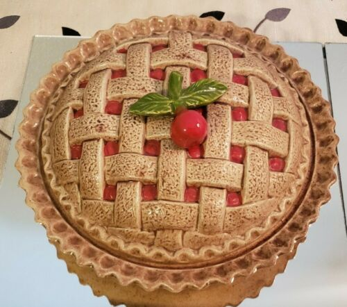 Vintage Ceramic Cherry Pie Plate with Cover