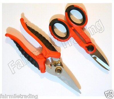 2 piece Pro Electrician Scissors Cable Wire Cutters Sheet Metal Shears Tape Ties